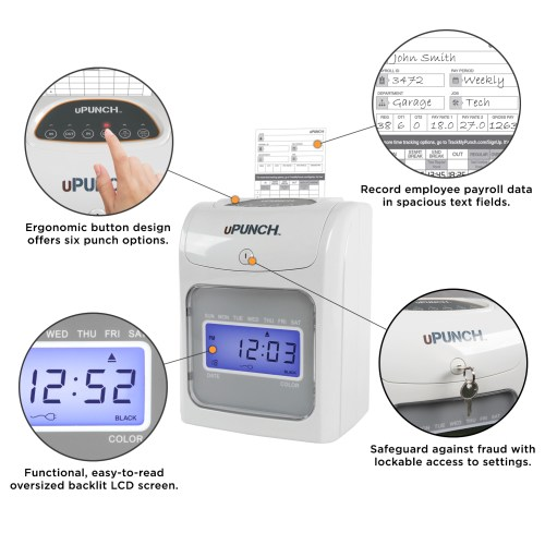 small resolution of upunch electronic auto align calculating time clock bundle