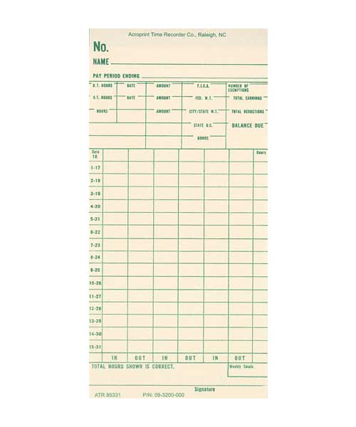 ATR440 Semi-Monthly Time Card