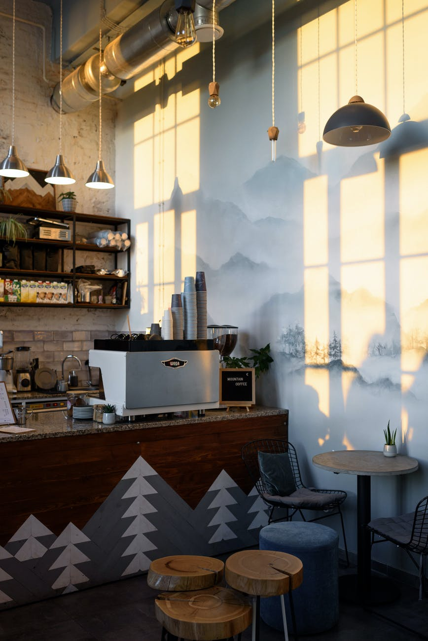 interior of well lit stylish coffee house