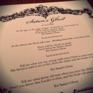 "Lyric sheet ""Satan's Ghost"""