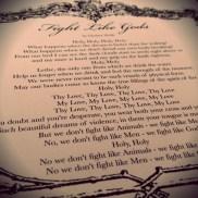 """Lyric sheet """"Fight like Gods"""""""