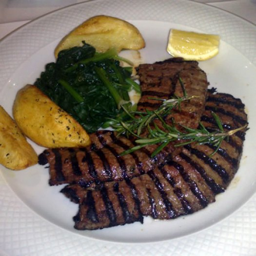 grilled calves liver with spinach & saute potatoes