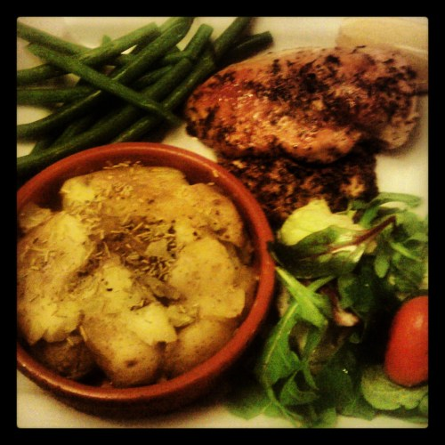 the chicken, pan fried with lemon and oregano and served with crushed rosemary new potatoes and green beans