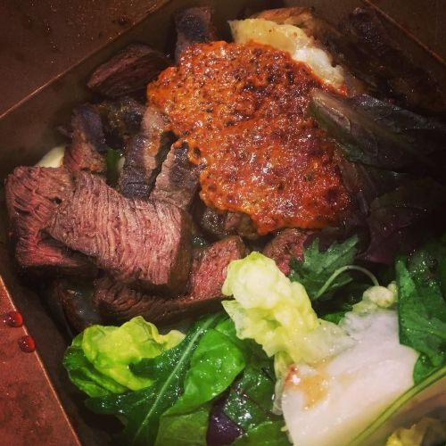 The Argentine from @carbonsoho charcoal grilled bavette steak with salad and a jacket potato.