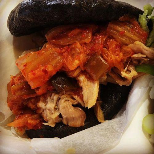 hirata bun with pork belly and kimchi