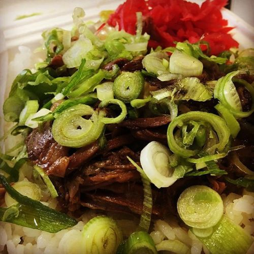 slow cooked beef rib in a teriyaki sauce donburi