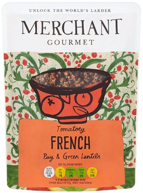 Merchant Gourmet's Tomatoey French Puy & Green Lentils.