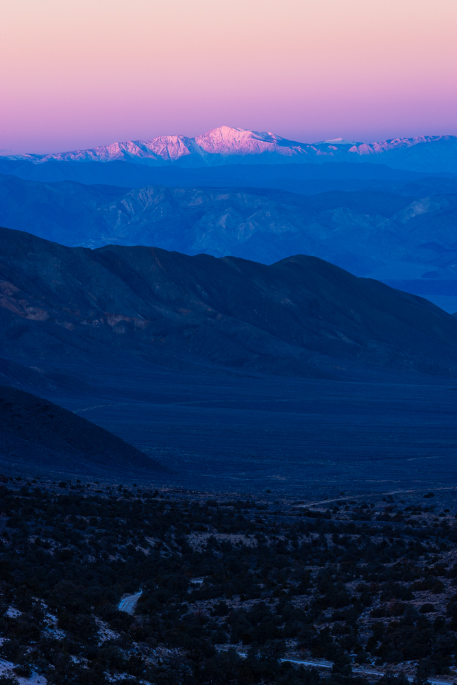 The belt of Venus over the High Sierra, possibly Mount Whitney.