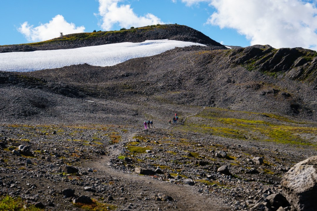 Crossing a lava field on the Ptarmigan Ridge Trail.