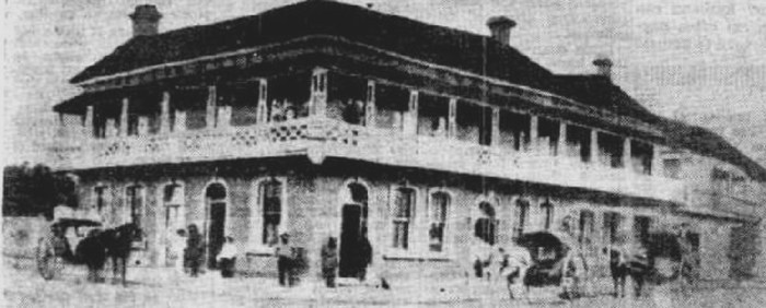 The Queens Hotel, Creek and Charlotte Streets, Brisbane 1880.