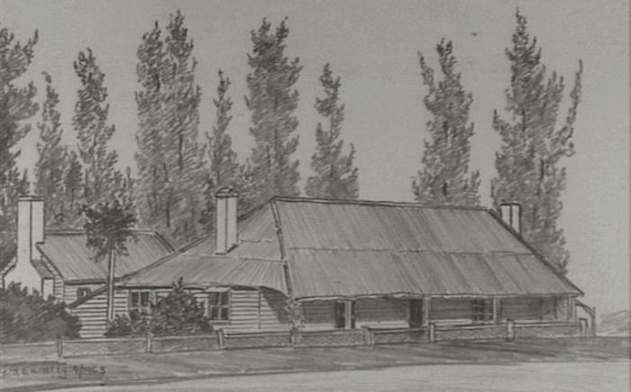 """Sketch by Gifford Eardley of """"An old cottage at Fairy Meadow"""", (opposite intersection of Cabbage Tree Lane and Princes Highway). The cottage was formerly the Cabbage Tree Inn owned by Thomas Townsend in the 1850s and later in the 1880s George Beadle. It served as Fairy Meadow's Post Office for many years."""