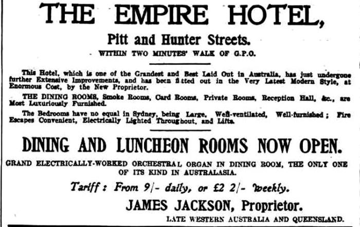 empire hotel advert 1904