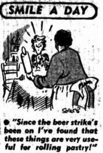 Beer strike cartoon in the Newcastle Sun (NSW), Thursday April 15 1948.