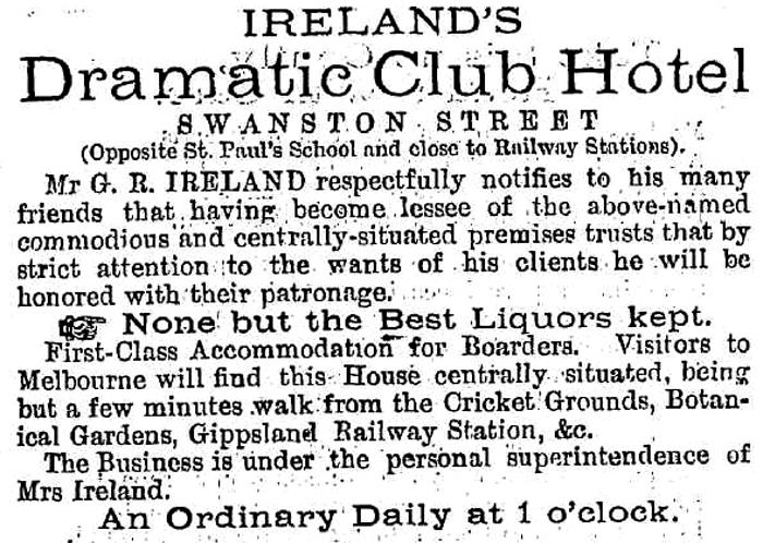 dramatic club hotel advert 1879