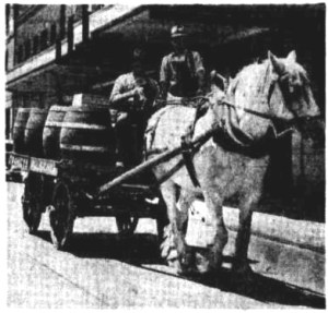 beer barrels on cart Newcastle 1945