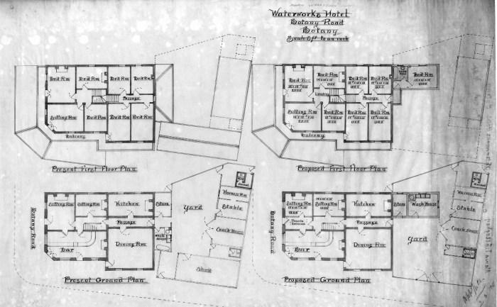 Waterworks Hotel Botany Floor Plan 1900 BW owner Maria Wolloghan