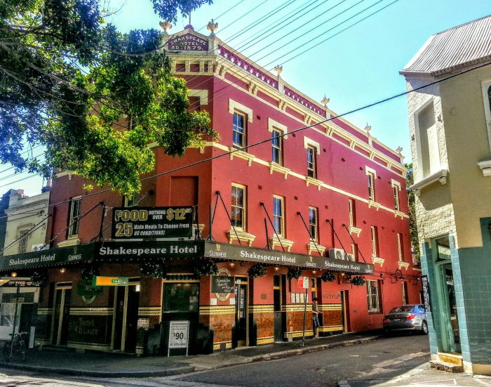 shakespeare hotel surry hills Sydney