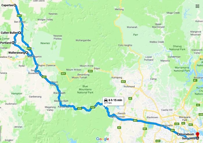 sydney to capertee map
