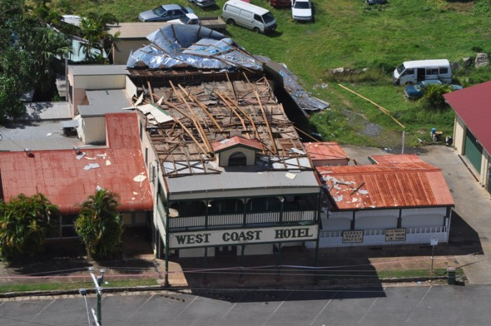Aerial-shot-West-Coast hotel cyclone damage queensland police 2014