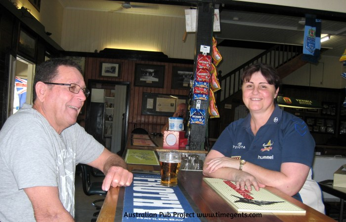 Tony Radford and publican Sherrie McDonald Mountain View Hotel Little Musgrave Qld 2019 2 TG W