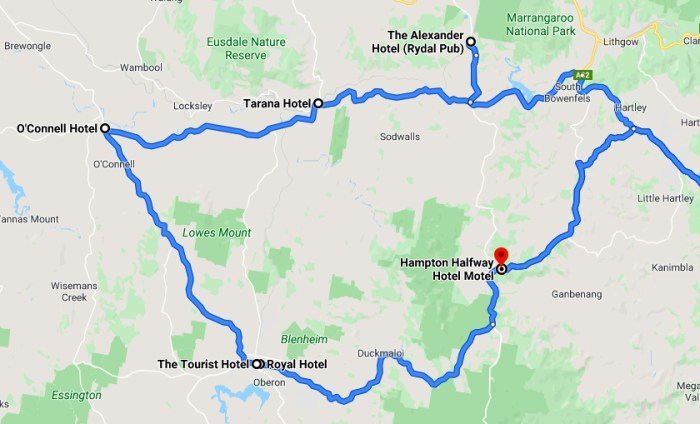 OConnell Plains Road Trip Map