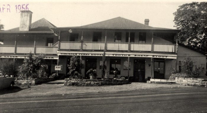 Hawkesbury Hotel later Wisemans Inn Hotel Wisemans Ferry 1956 NBA ANU