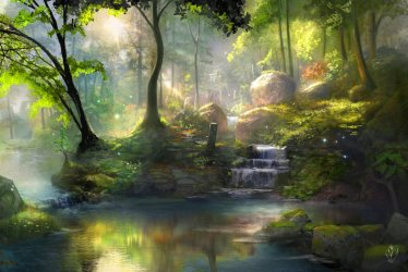 hd healing springs colorful digital spring fantasy abstract jjpeabody forest happy deviantart widescreen screen woods 3d enchanted scenery landscapes wednesday