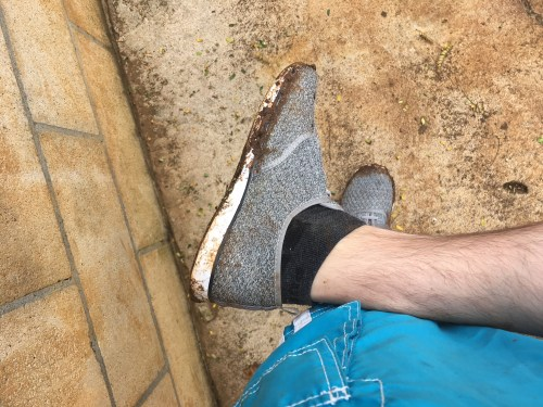Dirty shoes after an ATV tour on my Hawaii honeymoon
