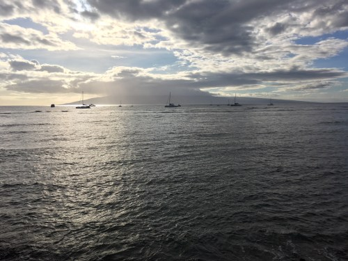 Boats and a view of another island in Maui on Hawaii Honeymoon