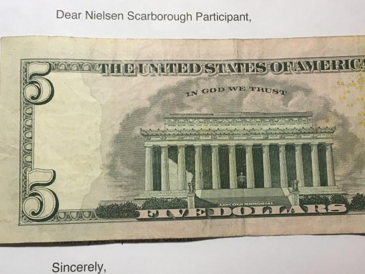 Nielsen Survey money and letter