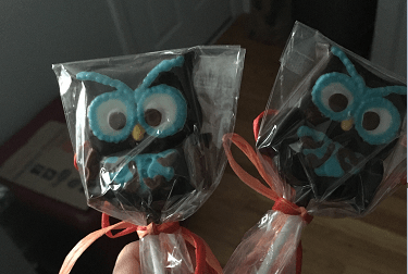 Chocolate owl wedding favors