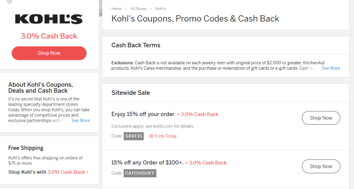 Kohl's example for a Rakuten Review