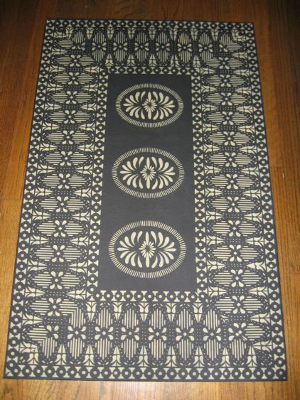 Timeless Floorcloths  Floorcloth Gallery II Love Birds Placemats Kaki Colonial Black and