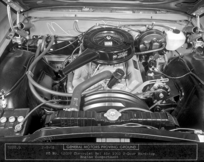 For 1962, the smallblock's displacement grew to 327 cubic inches--and this was the scene that greeted Chevy lovers when they popped the hood of a 327-powered BelAir that year. (Courtesy Chevrolet/GM Media Archives)