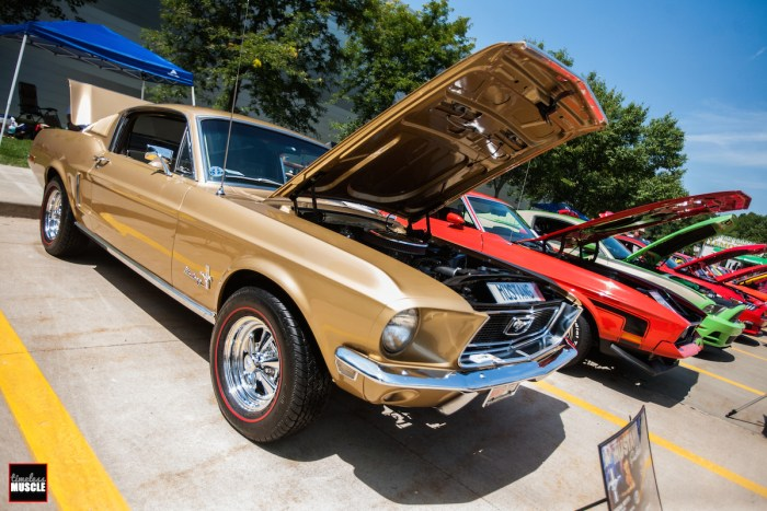 A gold Fastback GT leads a row of 'Stangs that includes a '71 Mach 1 and a Grabber Green Coyote GT.