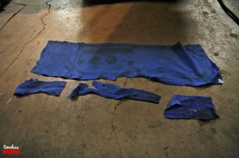 This raggedy semi-shag blue carpet was serving as the windage tray for our Chevele for quite some time. Installed by a previous owner oh-so-long ago, we have no idea what they are thinking. That being said, it's going straight to the trash pile.