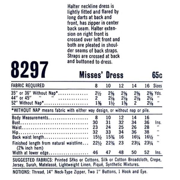 mccalls 8297 halter dress sewing pattern
