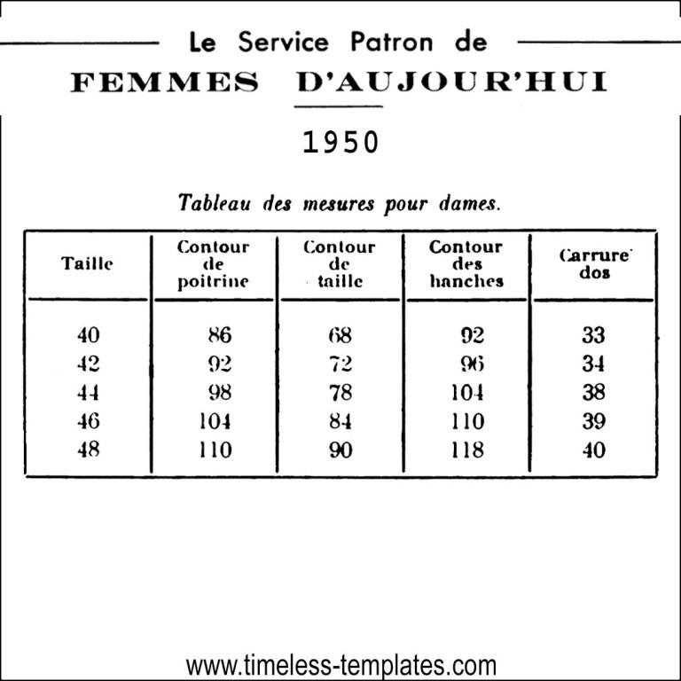 femme d´aujourd ´hui taille patron 1950