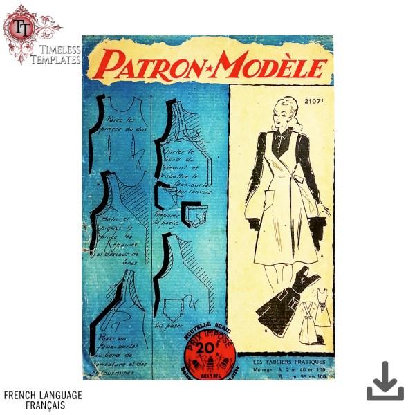 année 1940 tablier patron couture