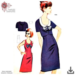 early 1960´s Dress mrs maisel sewing patterns with bolero_ vintage pdf downloads
