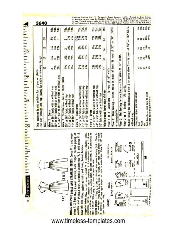simplicity_3640 original vintage sewing pattern