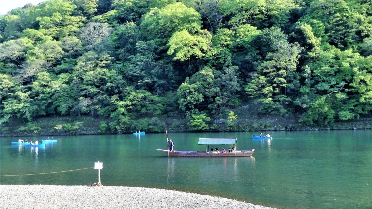 Boating along the Katsura River. Absolutely scenic. Sit here for a moment and absorb the tranquillity of the mountains.