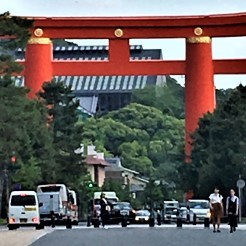 A giant size torii gate marks the start of your visit to the Heian Jingu in Kyoto.