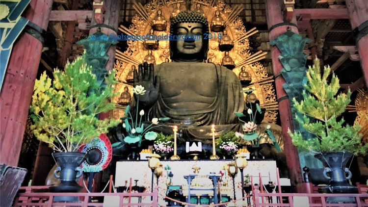 15 metre (50 feet) tall statute of Buddha in the main hall of Todaiji Temple