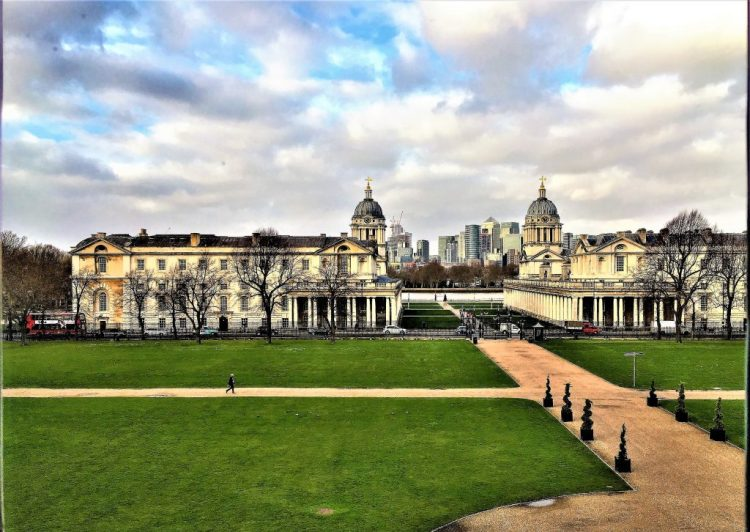 From this window, is a view straight to the Thames. Queen Mary II ensured that the closest distance between the College Buildings (over the road) is exactly the width of the Queen's House,