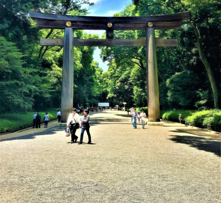 This is the 12 meter (40-foot) high Torii gate which marks the entrance to the Meiji Shinto Shrine. There are clear designated footpaths on the left and the right for visitors .