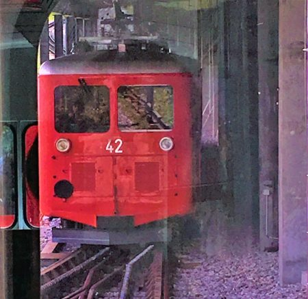 The iconic red cog railway, Montenvers train from Chamonix town centre.