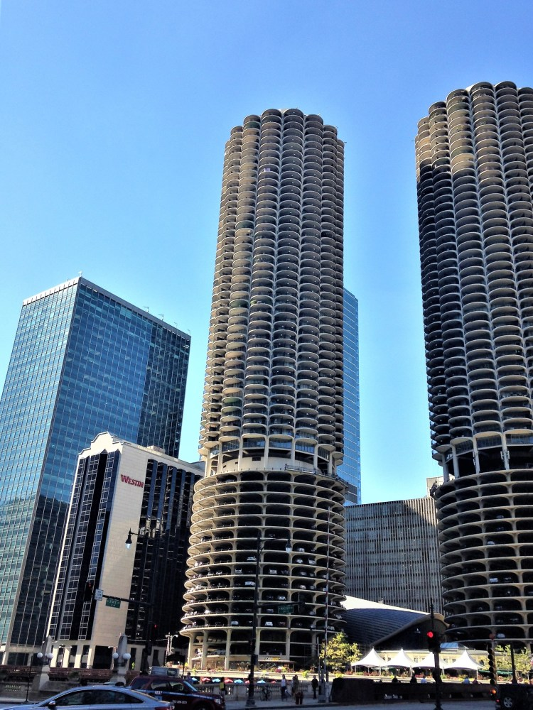 The iconic Marina City towers in Chicago, where the bottom 20 storey of the twin towers consist of continuous spirals of parking.