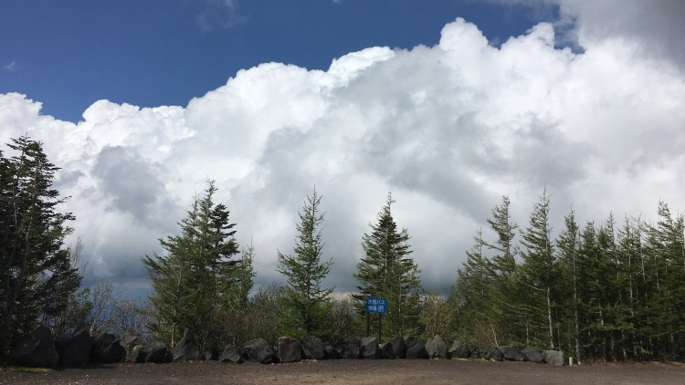 Journey up to 5th Station, Mt Fuji where trees were lined against the clouds