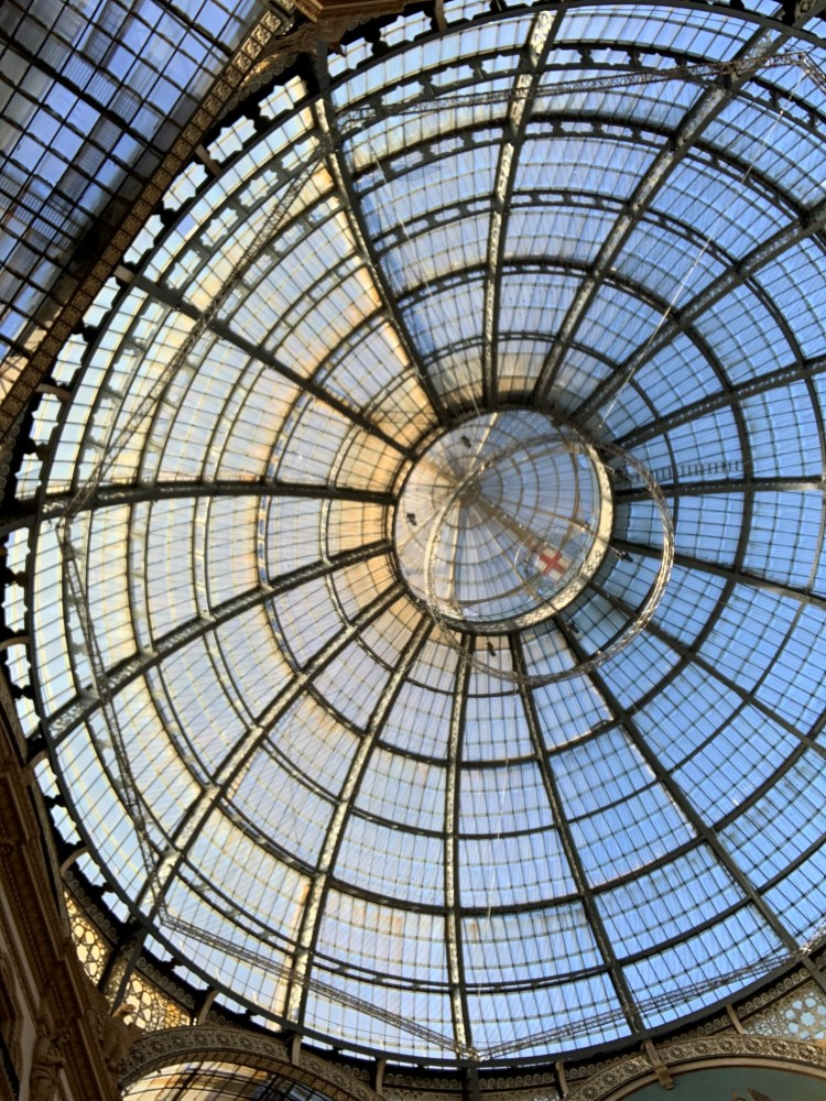 The iron and glass roof at the Galleria, Milan